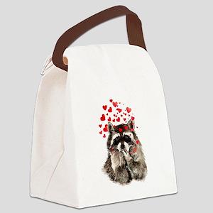 Raccoon Blowing Kisses Cute Animal Love Canvas Lun