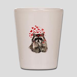 Raccoon Blowing Kisses Cute Animal Love Shot Glass