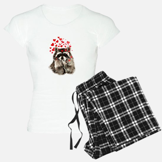 Raccoon Blowing Kisses Cute Animal Love pajamas