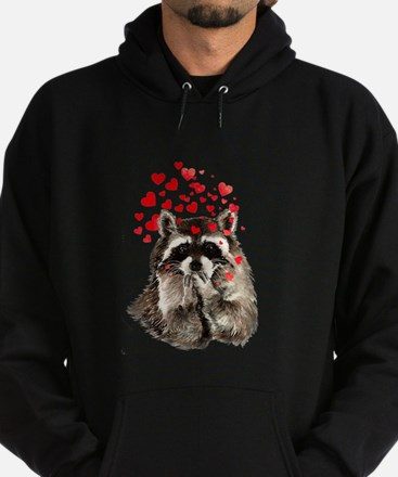 Raccoon Blowing Kisses Cute Animal Love Hoodie