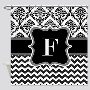 Custom Letter F in black and white demask and chev