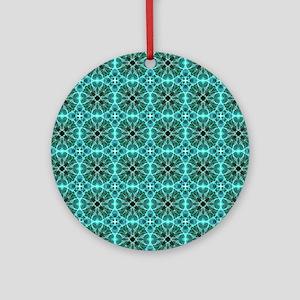 Turquoise damask pattern Round Ornament