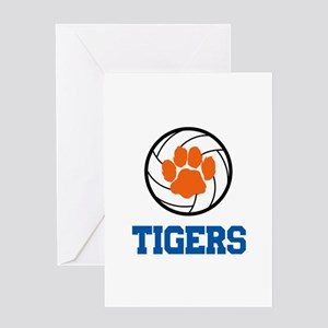 TIGERS VOLLEYBALL Greeting Cards