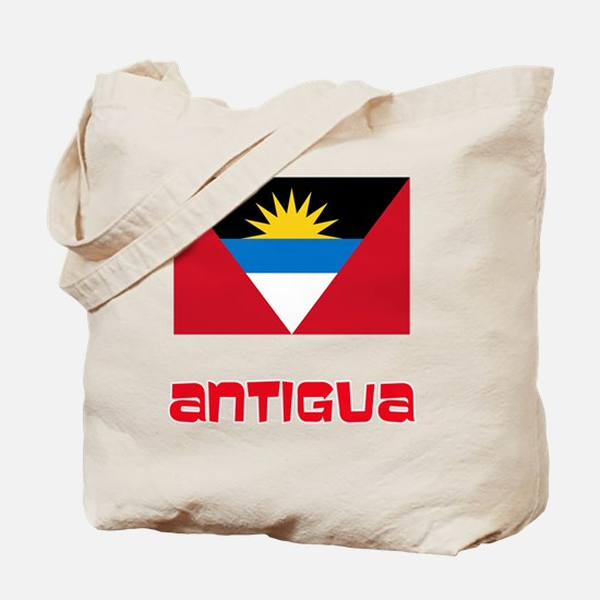 Antigua Flag Retro Red Design Tote Bag