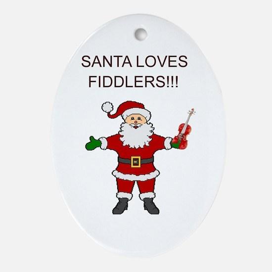 Santa Violin Fiddler Christmas Music Oval Ornament