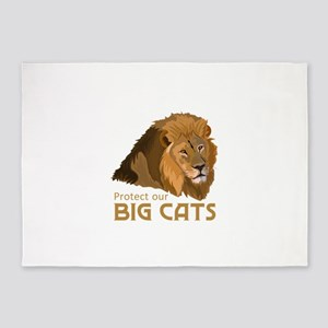 PROTECT OUR BIG CATS 5'x7'Area Rug