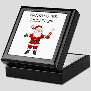 Santa Violin Fiddler Christmas Music Keepsake Box