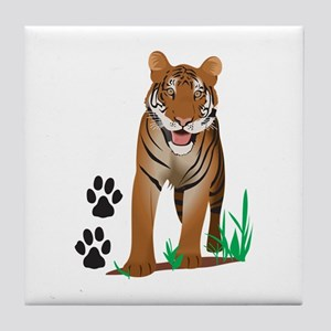 TIGER WITH PAW PRINTS Tile Coaster