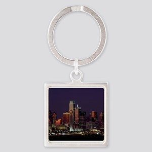 Dallas Skyline at Night Keychains
