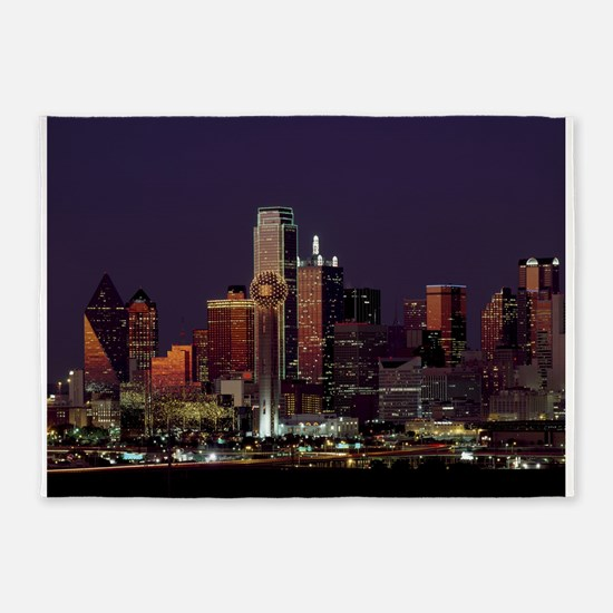Dallas Skyline at Night 5'x7'Area Rug