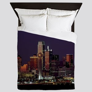 Dallas Skyline at Night Queen Duvet