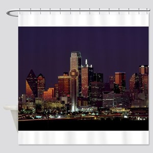Dallas Skyline at Night Shower Curtain