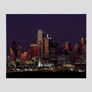 Dallas Skyline at Night Throw Blanket