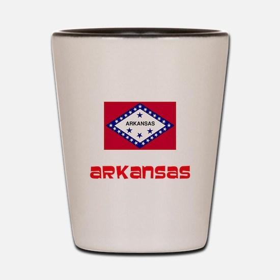 Arkansas Flag Retro Red Design Shot Glass