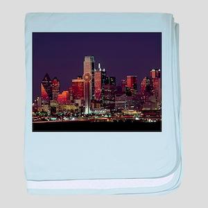 Dallas Skyline at Night baby blanket