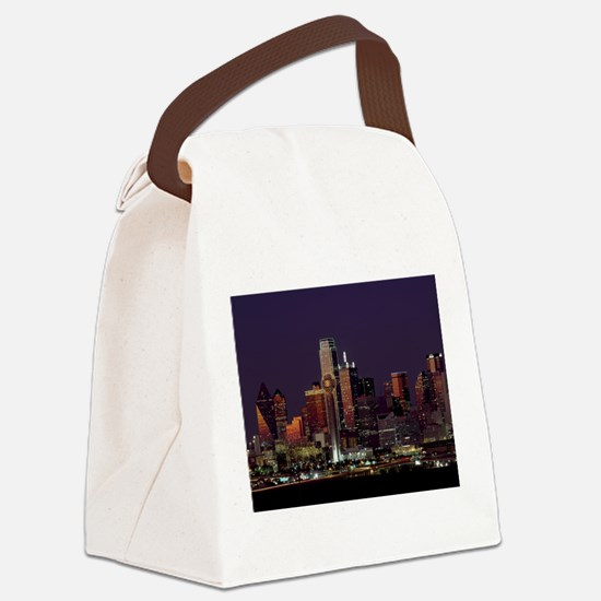 Dallas Skyline at Night Canvas Lunch Bag