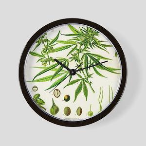 Cannabis or Hemp Illustration Wall Clock