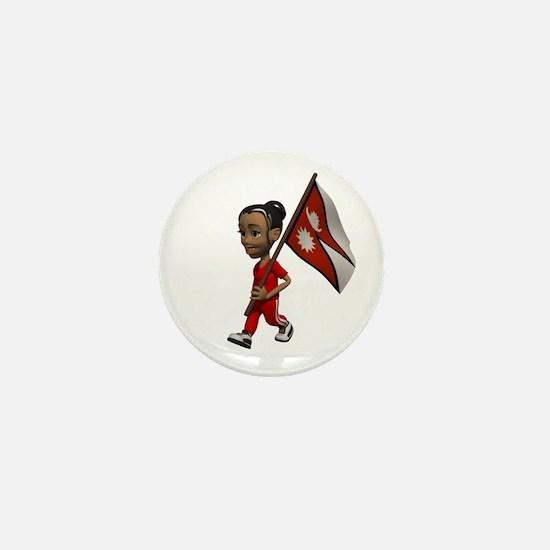 Nepal Girl Mini Button