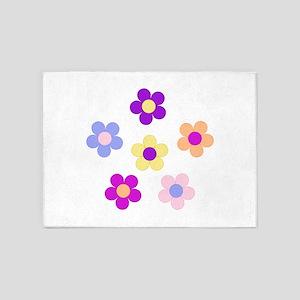 6 Flower Power Design 5'x7'Area Rug