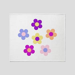6 Flower Power Design Throw Blanket