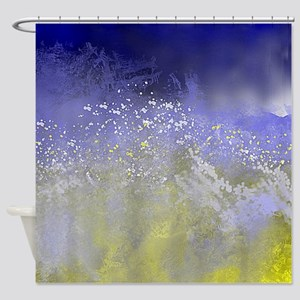 Blue and Gold Ocean Abstract Shower Curtain