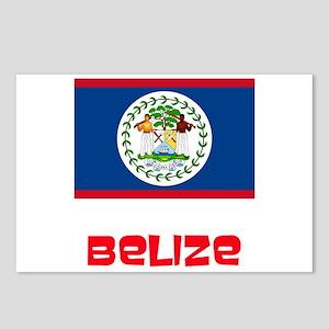Belize Flag Retro Red Des Postcards (Package of 8)