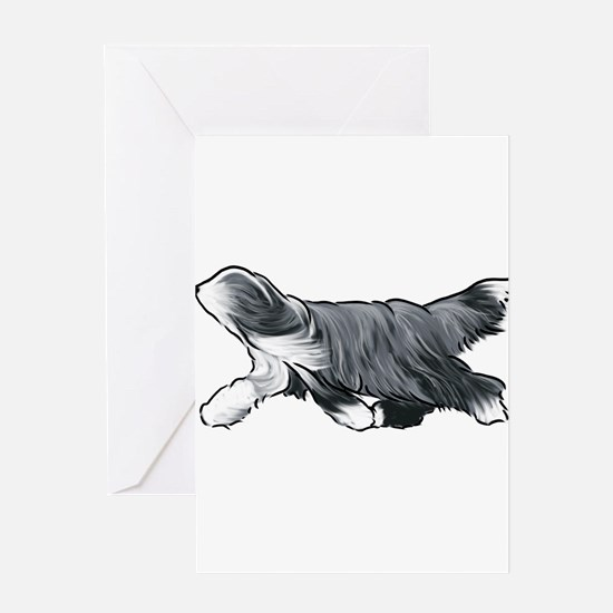 bearded collie Greeting Cards