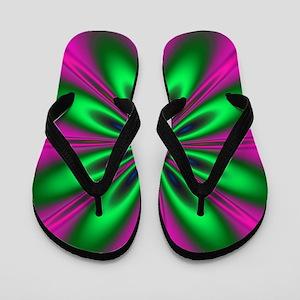 Green Flower on Pink by designeffects Flip Flops
