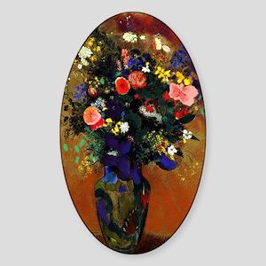 Redon - Large Bouquet of Wildflower Sticker (Oval)