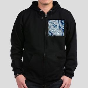 navy blue swirls Zip Hoodie (dark)