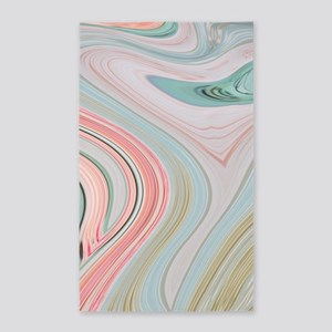 girly coral mint pattern Area Rug