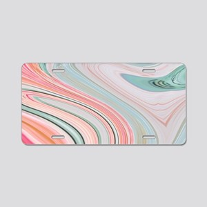 girly coral mint pattern Aluminum License Plate