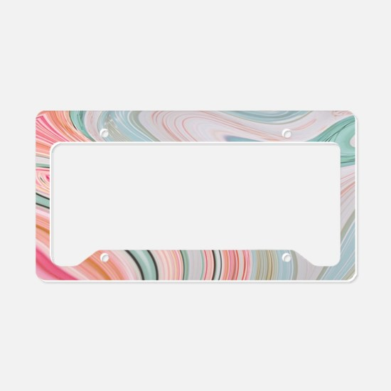 girly coral mint pattern License Plate Holder