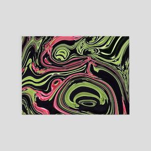 black mint coral swirls 5'x7'Area Rug