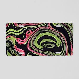 black mint coral swirls Aluminum License Plate