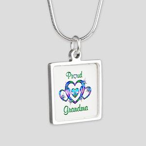 Proud Grandma Silver Square Necklace