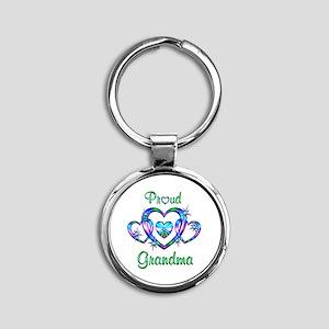 Proud Grandma Round Keychain