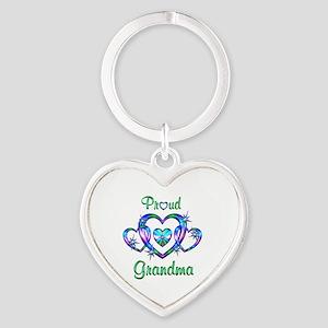 Proud Grandma Heart Keychain