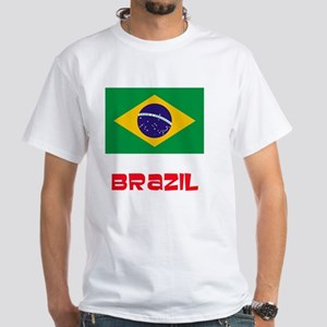 Brazil Flag Retro Red Design T-Shirt