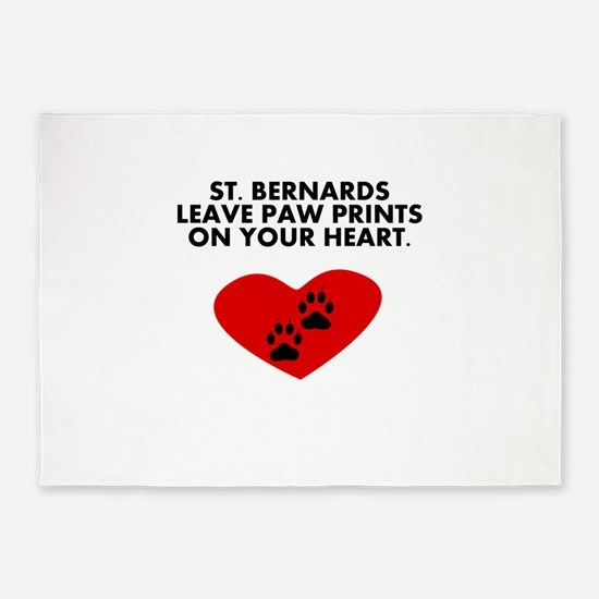 St. Bernards Leave Paw Prints On Your Heart 5'x7'A