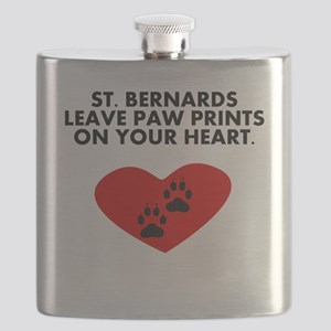 St. Bernards Leave Paw Prints On Your Heart Flask