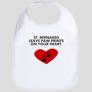 St. Bernards Leave Paw Prints On Your Heart Bib