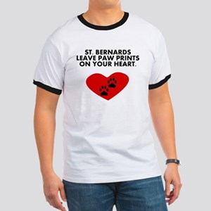 St. Bernards Leave Paw Prints On Your Heart T-Shir