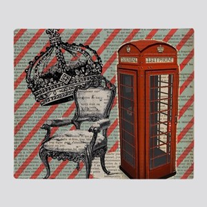 vintage telephone booth london Throw Blanket