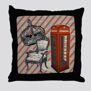 vintage telephone booth london Throw Pillow