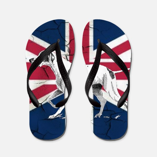 union jack english hunt dog Flip Flops