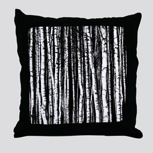 Artistic Birch Trees in black and white Throw Pill