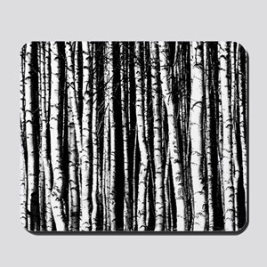 Artistic Birch Trees in black and white Mousepad
