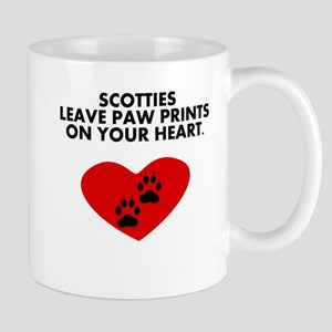 Scotties Leave Paw Prints On Your Heart Mugs