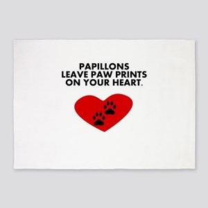 Papillons Leave Paw Prints On Your Heart 5'x7'Area